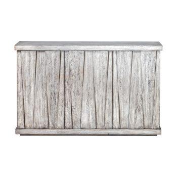 Whitewashed Mango Wood Triangle Distressed Wood Console Cabinet