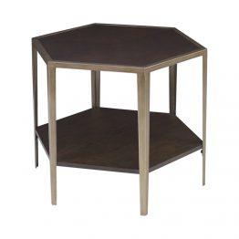 Wood And Metal Hexagon Side Table