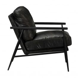Black Leather Club Chair With Black Metal Base