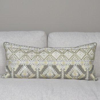 Brown Diamond Embroidered Lumbar Pillow