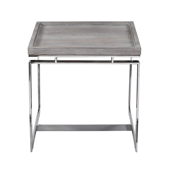 Chrome Open Base Side Table With Wood Top