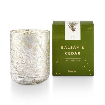 Illume Balsam and Cedar Candle Small Luxe Mercury Glass Container