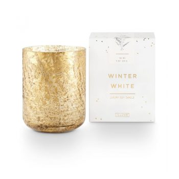 Illume Winter White Candle Small Luxe Gold Mercury Glass Container