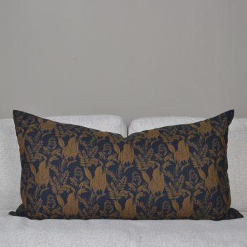 black and brown botanical print lumbar pillow