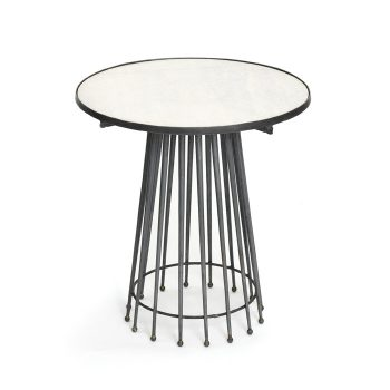 black metal mid century mod needle table white marble top