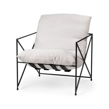 black metal open frame chair with white cushion seat and back