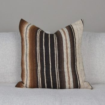 brown and white striped alpaca fur pillow