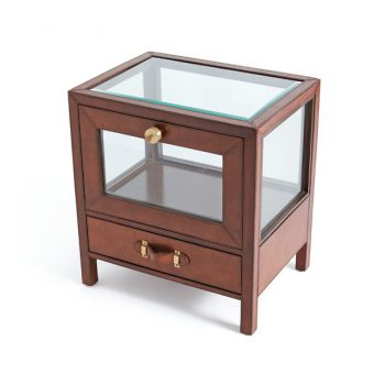 brown leather and glass side table
