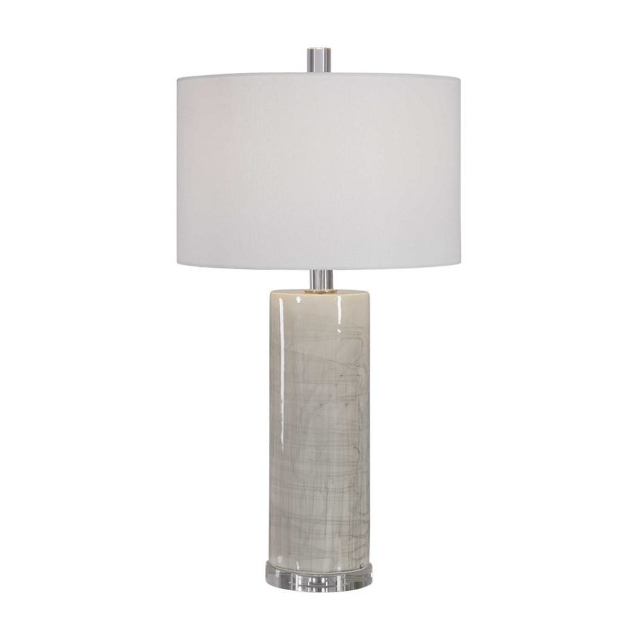 cream glazed table lamp with acrylic base