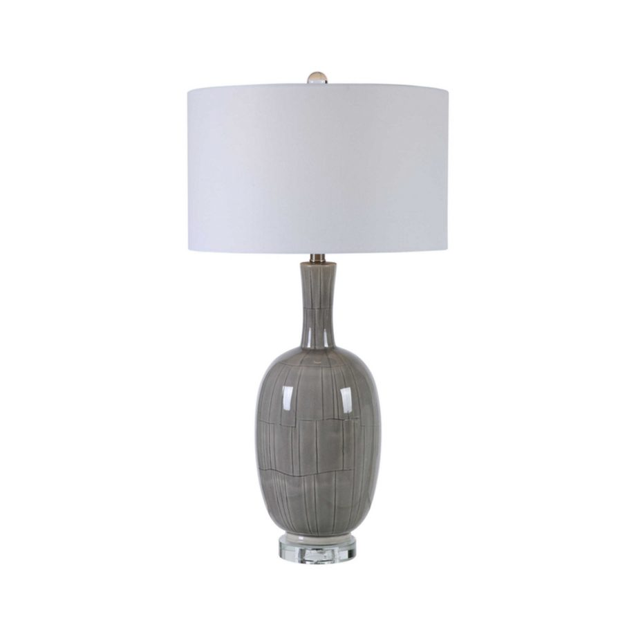 gray crackle glazed table lamp
