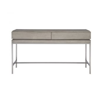 gray washed wood console table with silver metal base
