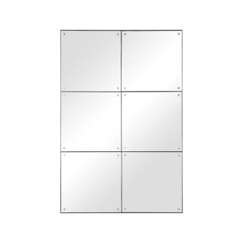 grid six panel mirror with bolt accents close