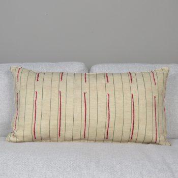 natural linen lumbar pillow with red stripes