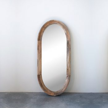 oval mango wood mirror