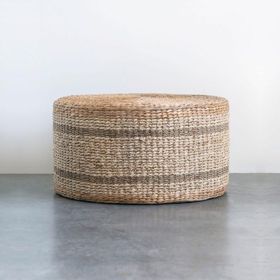 round woven seagrass ottoman