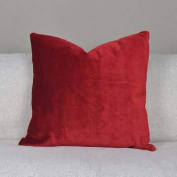 solid red velvet pillow
