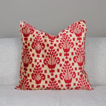 turkish silk red ikat pillow
