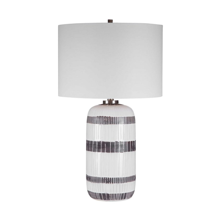 white and brown textured glazed ceramic table lamp