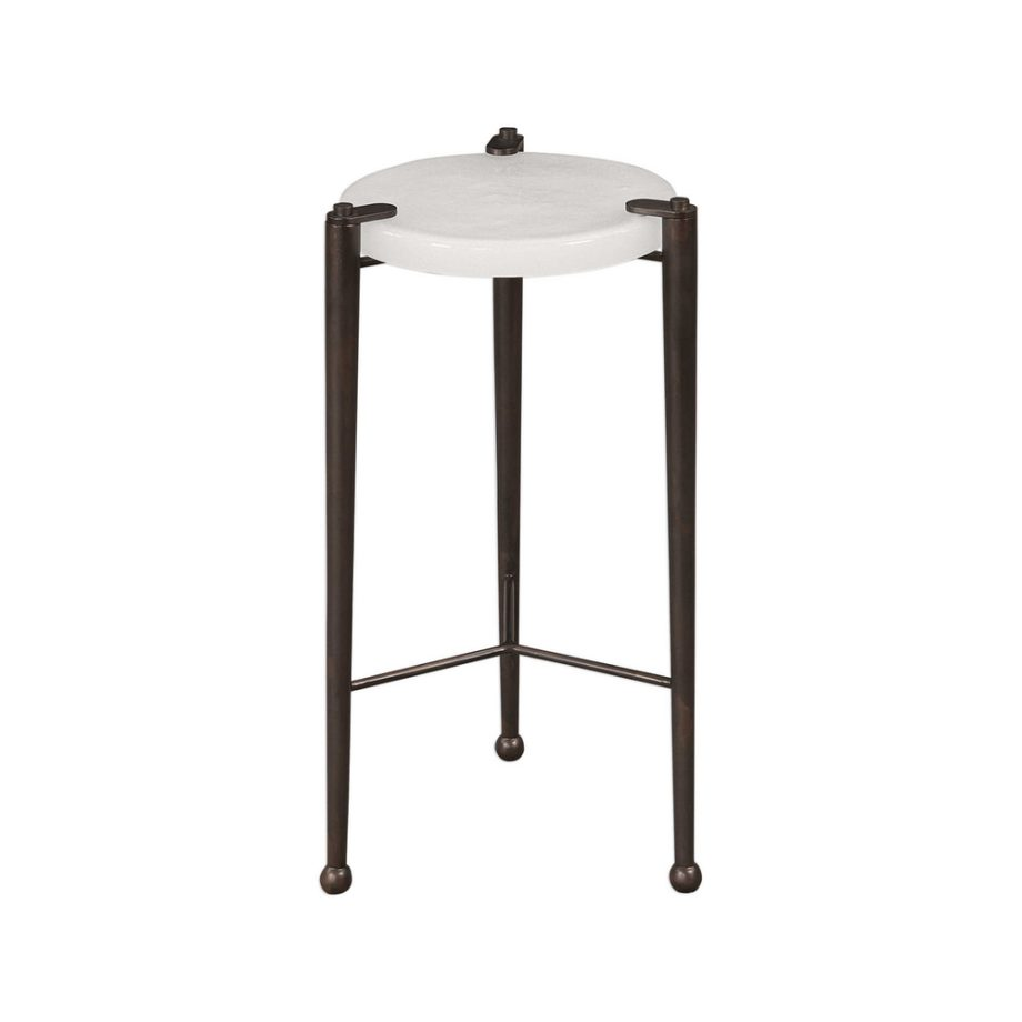 white glass side table on bronze metal three leg base
