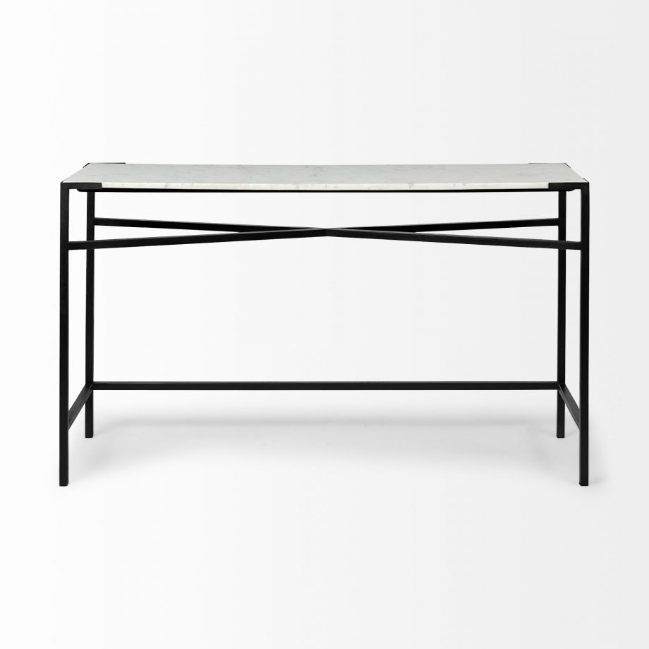 white marble console table with black metal frame