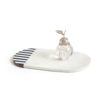 white marble oval cheese board black and white stripes