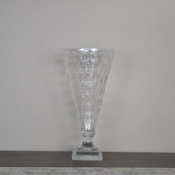Clear Bubble Glass Cone Shaped Vase