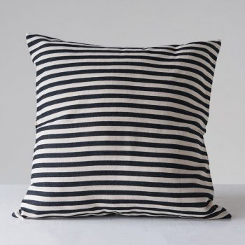 black and white striped woven pillow
