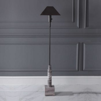black metal pencil floor lamp with gray textured stone base