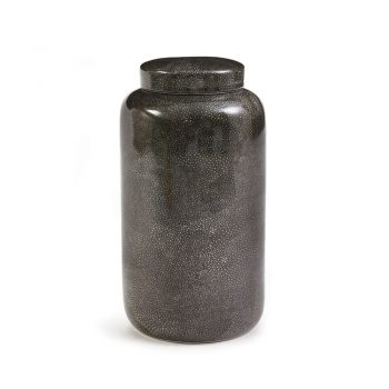 black painted shagreen finish ceramic jar with lid