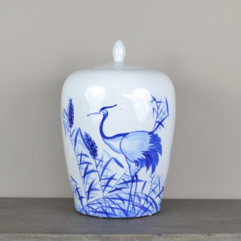 blue and white chinoiserie jar with lid