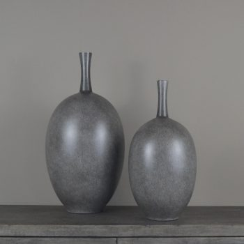 charcoal gray ceramic long neck vase