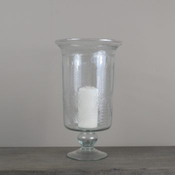 clear etched glass hurricane vase on pedestal