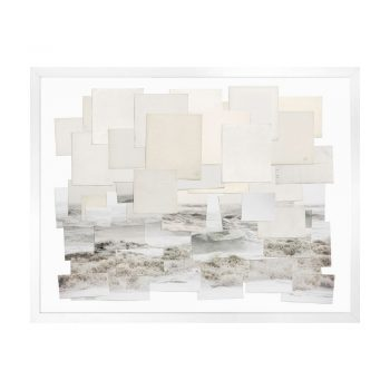 coastal surf art made from layers of book pages and photos