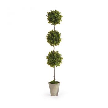 faux potted boxwood triple topiary