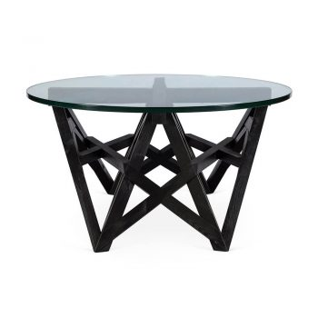 geometric black wood coffee table with glass top
