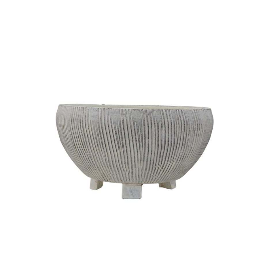 gray textured etched terra-cotta bowl on legs