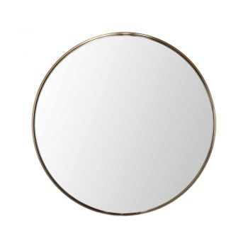 round wall mirror with brushed brass frame