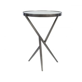 side table with angular gunmetal three leg base and antiqued mirror top