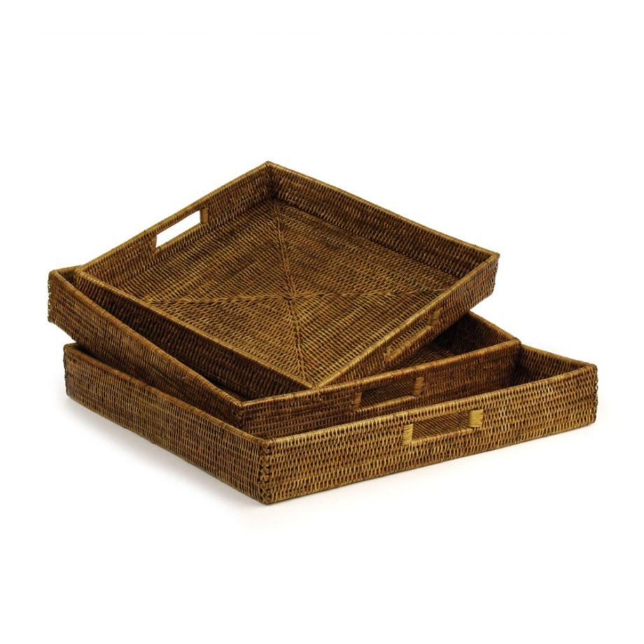 square woven rattan ottoman tray
