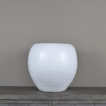 white etched ceramic pot