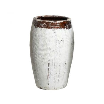 white painted antique rice wine jar