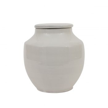 white terra-cotta jar with lid