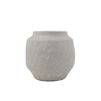 white textured terra-cotta vase