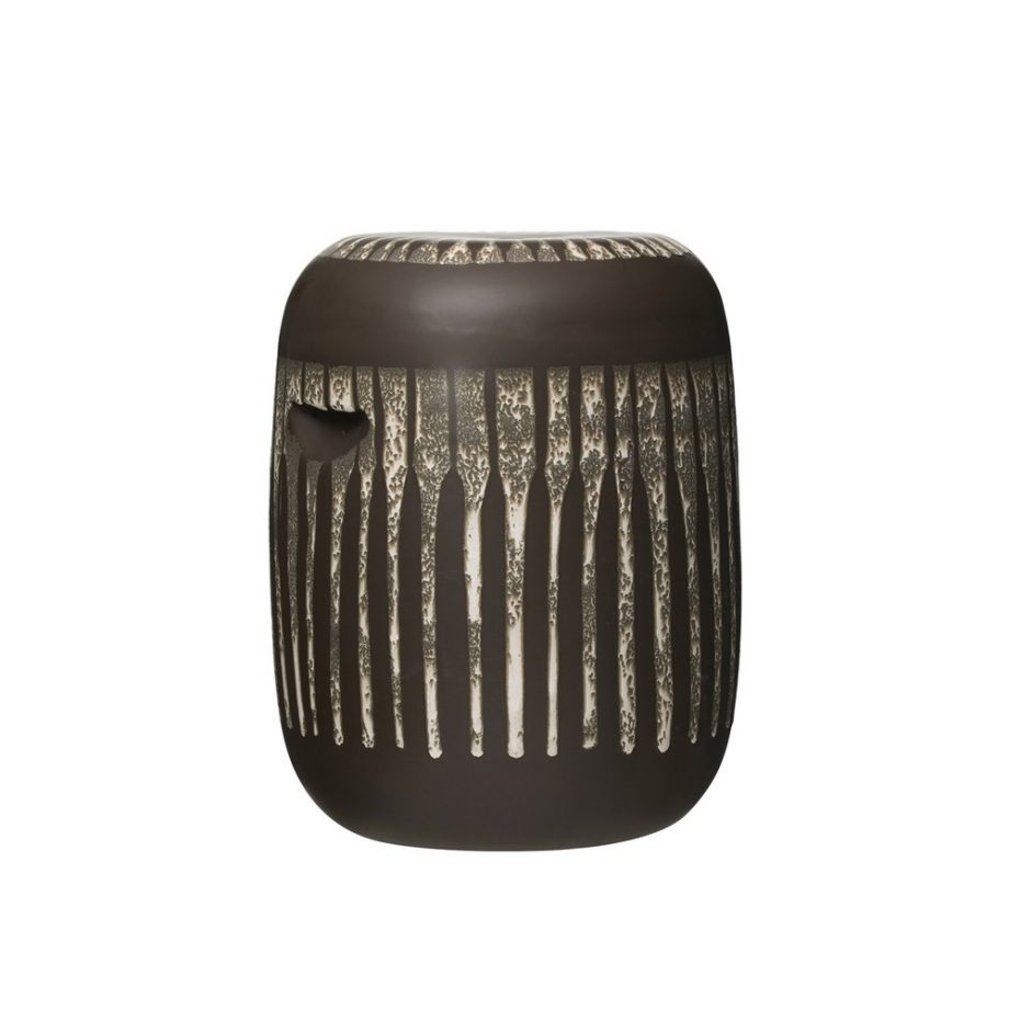 black stoneware side table with reactive glaze finish
