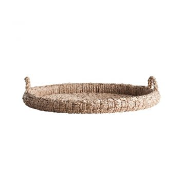 oversized round woven basket tray with handles