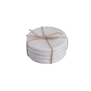 white marble chip edge coasters set of four