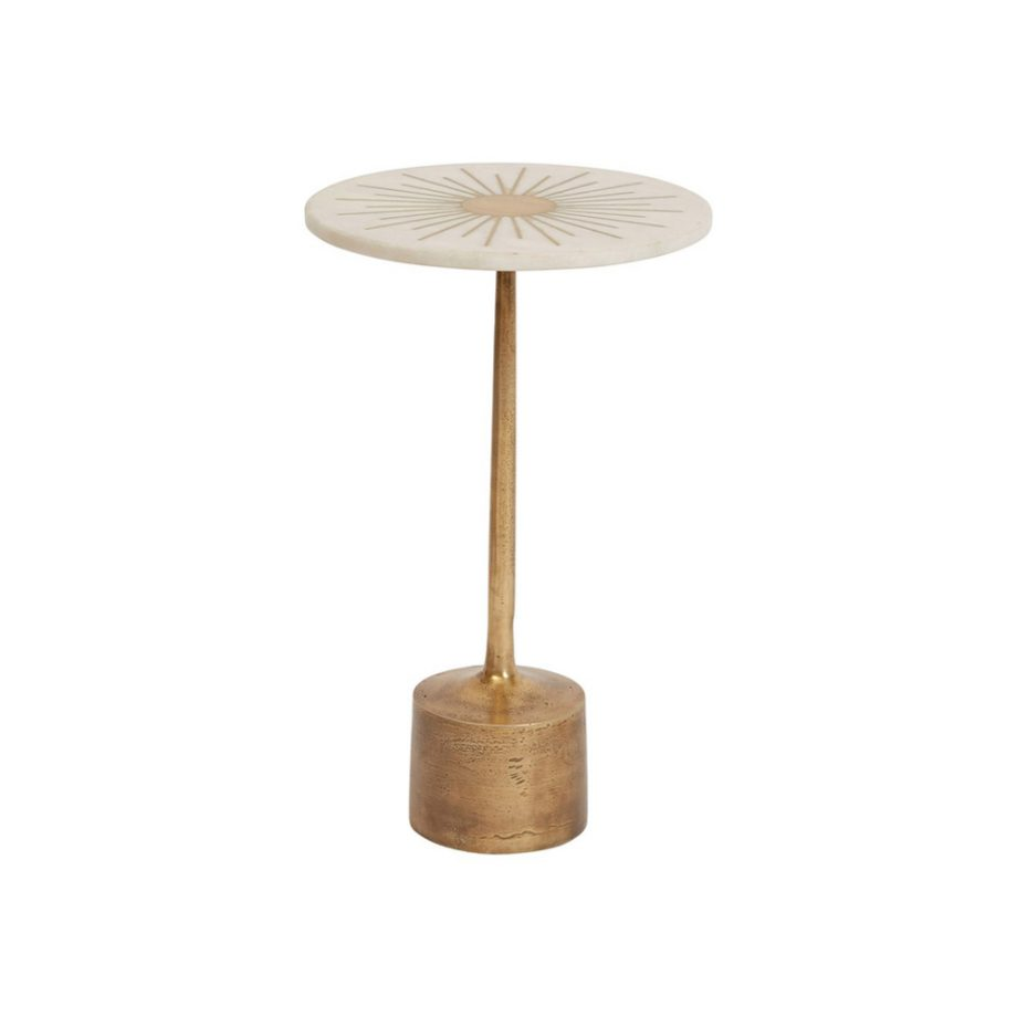 white marble cocktail table with brass inlay starburst and brass base