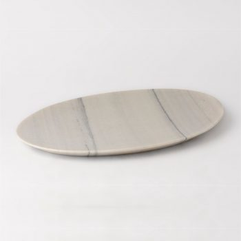 white marble oval tray