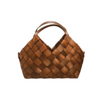 woven basket with leather handle