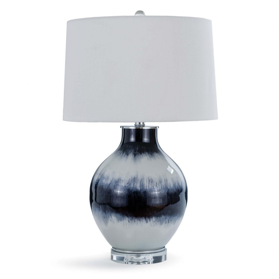 blue and white indigo tie dye table lamp